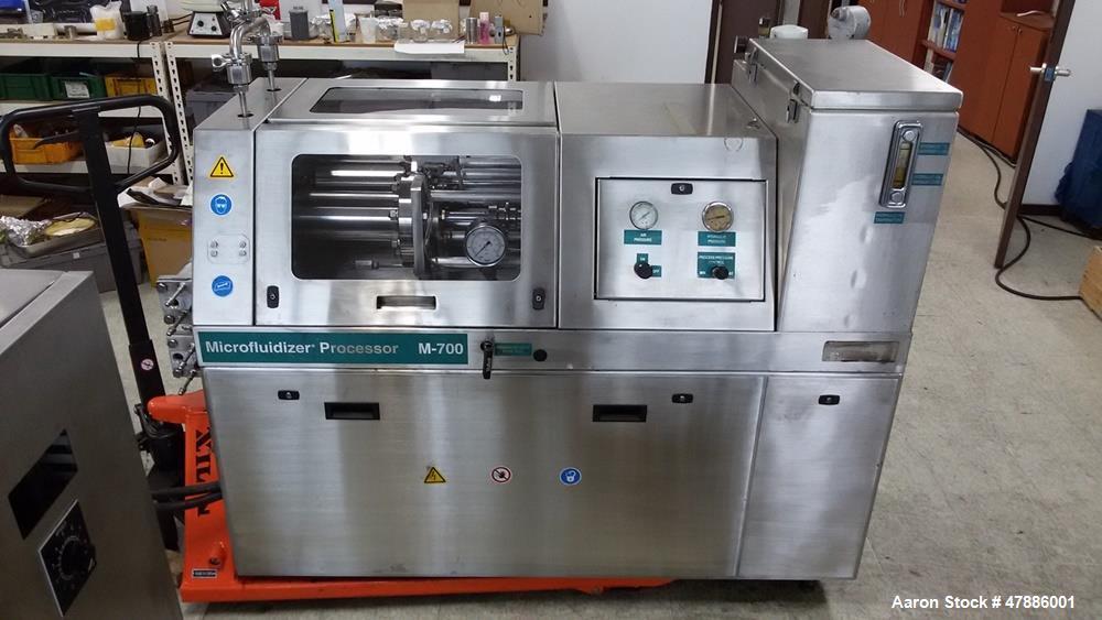 Used- Microfluidics M-7250 Microfluidizer Production Scale Processor. Unused Diamond interaction chamber, wear-resistant con...