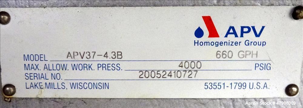 Used- APV Homogenizer, Model APV37-4.3B, Stainless Steel.