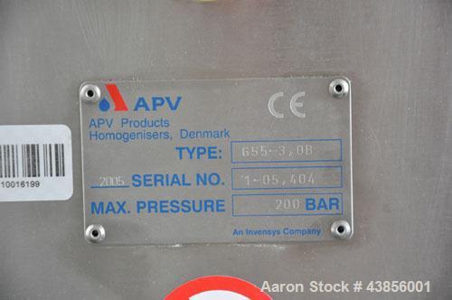 Used-APV Homogenizer, Model G55-3.0B.  Maximum pressure 2900 psi (200 bar), maximum capacity 4228 gallons/hour (16,000 liter...