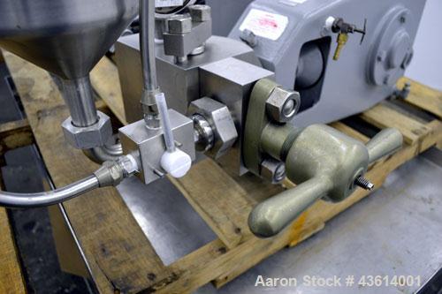Used- APV Gaulin Homogenizer, Model 15MR-8TA, 316 Stainless Steel. Capacity 15 gallons per hour, 8000 psi maximum. Single st...