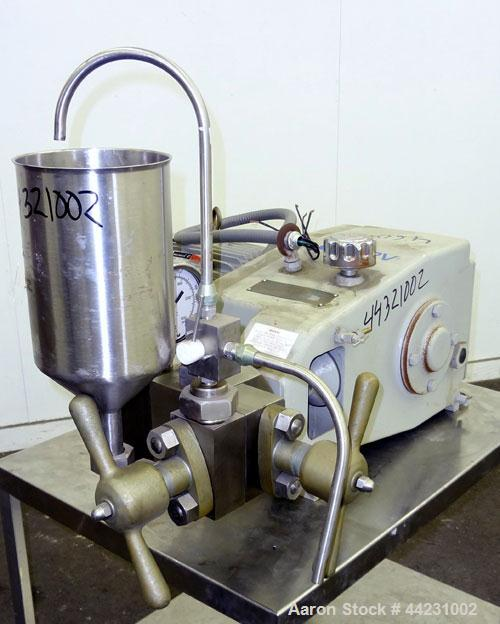 Used- APV Gaulin Homogenizer, Model 15MR-8TBA, 316 Stainless Steel. Capacity 15 gallons per hour, 8000 psi maximum. Two stag...