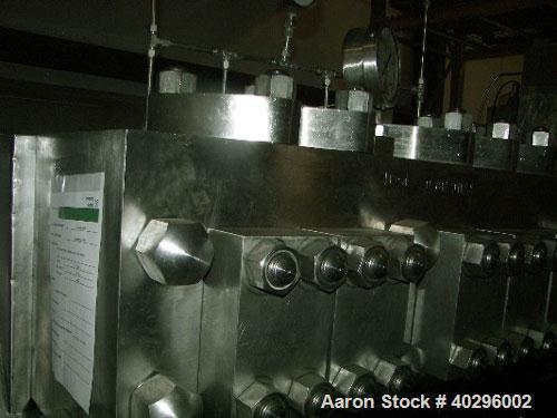 Used-APV Gaulin 2 stage aseptic high pressure homogenizer, model 3150 MC 120-6. 11925 l/h = 3150 gph; 450 bar = 6525 psi, 80...
