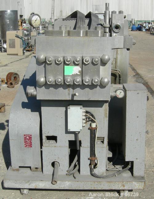 Used- APV Gaulin Homogenizer, Type MC45-3TBS. Stainless steel construction on product contact parts. Working capacity 3307 g...
