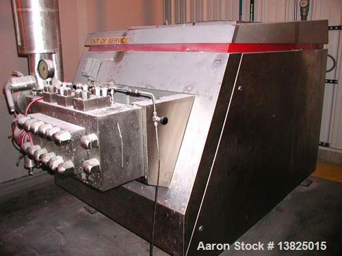 Used-APV Gaulin homogenizer, model G90-5B. 2,000 gph, 5,000 psi, stainless steel, mfg 1999. Single stage homogenizing valve ...