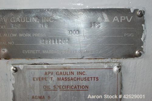 Used-APV Gaulin M6-3TPS Homogenizer, 3000 psi.