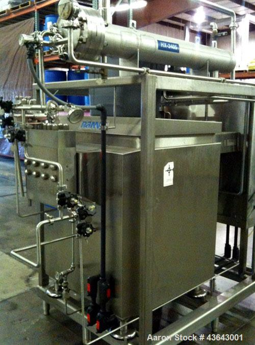 Used-APV Homogenizer / Homogenizer skid mounted system. Aseptic design Rannie liquid ed 3 piece valve housing. Type BT.18.66...