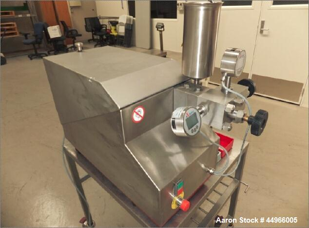 Used-APV Lab Homogenizer, Model 1000 HP Homogenizer.  Capacity 22 liters per hour.  Pressure 1000 bar.  Under 40 hours of us...