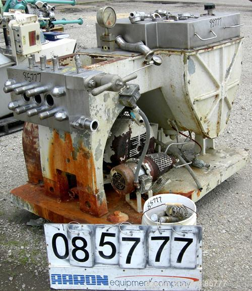 Used- Gaulin Homogenizer, Model 1000MCP18-6TBS, 15-5PH Stainless Steel. 1000 gallons per hour capacity, 6000 PSI max. Single...