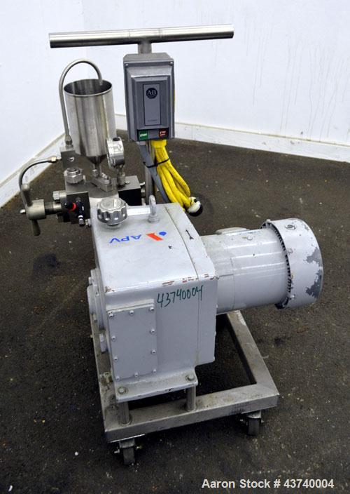Used- APV Gaulin Laboratory Homogenizer, Model 15MR-8TA, 316 Stainless Steel.  2 Stage valve, 15 gallons per hour, 8000 psi....