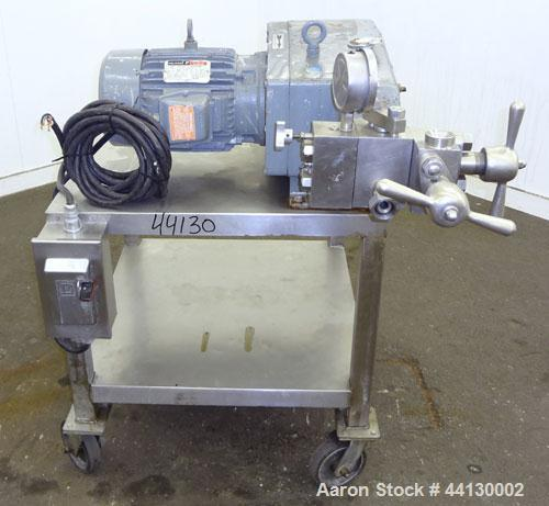 Used- GaulinHomogenizer,Model15MR-8TBA,316 Stainless Steel. Capacity15 gallons per hour,8000 psi maximum. Two stage ho...