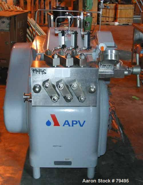 USED: APV Gaulin homogenizer, model 180-MG-10TBSX. Stainless steel product contact. Single stage manual valve assembly. Capa...