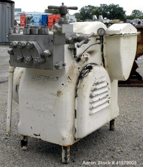 Used- Gaulin Homogenizer, Model 800M63TPS, 304 stainless steel. Capacity 1000 gallons per hour, 3000 psi maximum. 2 stage ho...