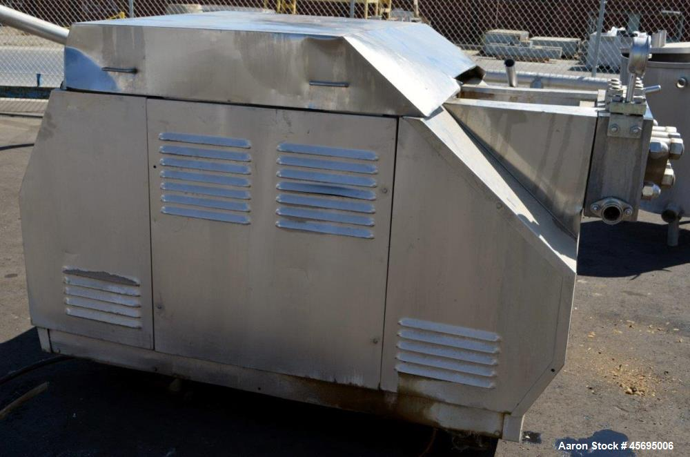 Used- Gaulin Homogenizer, 304 Stainless Steel. Single stage valve assembly, 3 pistons. Driven by an approximate 50 hp motor ...