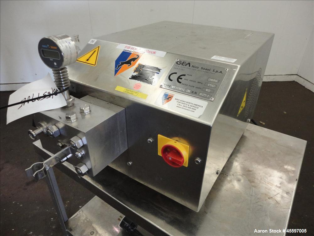Used- GEA Niro Soavi High Pressure Laboratory Homogenizer, Model NS1001L2K. 2 Stage stainless steel homogenizing valve assem...