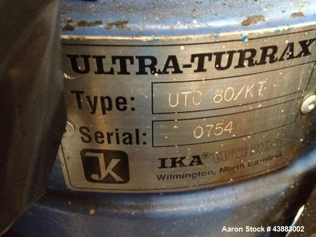 Used- IKA Ultra-Tuurax Homogenizer Unit, Type UTC 80/KT. Includes 3HP motor, rack, no hoist.