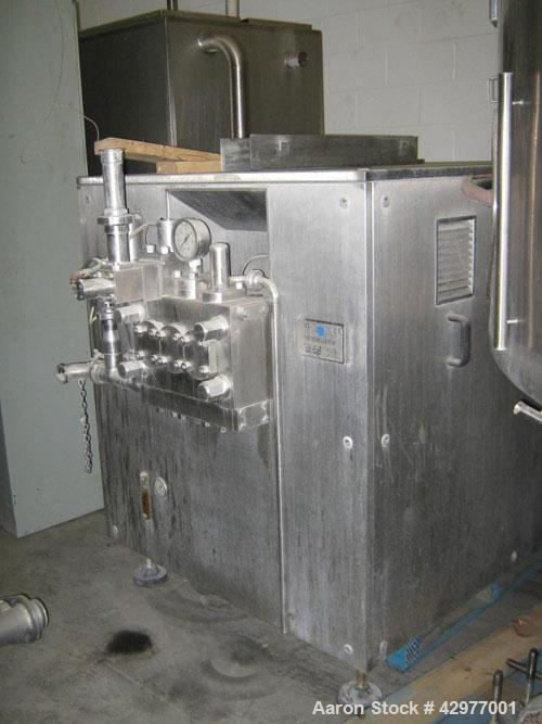Used-TMCI Padovan Homogenizer, Model BM3.  4,000 LPH, 150 kg/cm2 (bar), 208 SPm, 70 mm pumping piston stroke, 45 mm diameter...