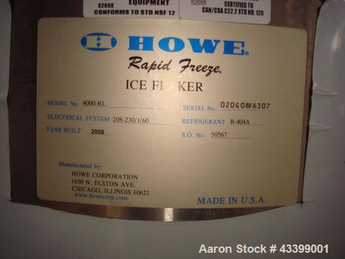 Used-Howe Rapid Freeze Ice Flaker.  Can produce 4,000 to 6,000 pounds of ice per day.  Flaker, condensing unit, control pane...