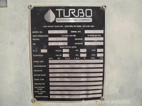 USED: Turbo ice builder with storage tank, model HP800B SCE. R22 refrigerant. Max capacity 2200 lbs. Compressor motor 125 hp...