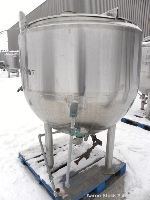 "Used- Mueller Kettle, 250 Gallon, Model F, Hastelloy C-276, vertical. 48"" diameter x 45"" deep. Open top with (2) 1/3 covers,..."