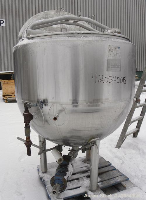 "Used- Mueller Kettle, 250 Gallon, Hastelloy C-276, vertical. 48"" diameter x 45"" deep. Open top with (2) 1/3 covers, dimple j..."