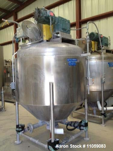 Used- Vacuum Mix Kettle approximately 500 Gallon . Jacketed and equipped with scrapper agitation driven by 5 HP, 220/440 vol...