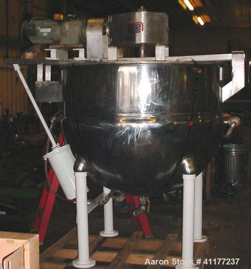 Used-Lee 300 gallon double motion jacketed kettle. Has dual motion counter rotating sweep agitator with bridge mounted tilt ...