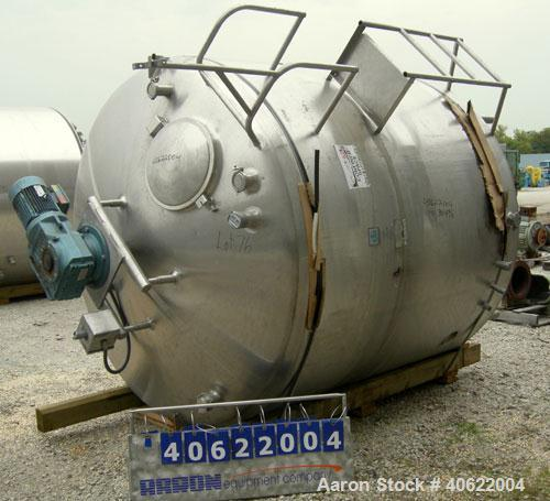 """Used-  Cherry Burrell Kettle, approximate 1500 gallon, 304 stainless steel, jacketed.  84"""" diameter x approx 72 7/8 """" straig..."""