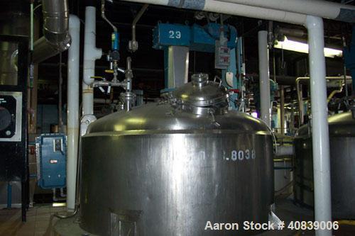 Used-Walker 1500 gallon, 316 stainless steel, jacketed vacuum tank, model SP6375, serial #1370, National Board #203. Jackete...