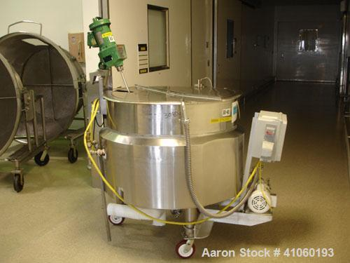 Used- Groen Kettle, 150 Gallon, Model N150. Stainless steel construction, jacketed for 25 psi at 300 F, with 1/3 hp DC Light...