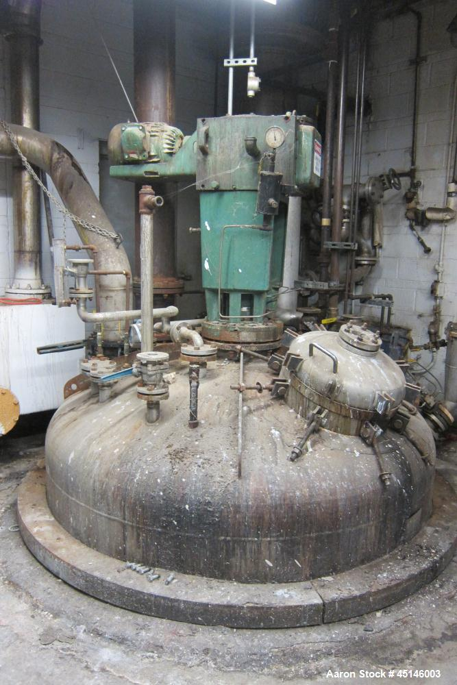 """Used- Imperial Steel Tank Co Resin Kettle, approximatley 1,500 gallons, 316 stainless steel. 89-1/2"""" diameter x 96"""" tall. In..."""