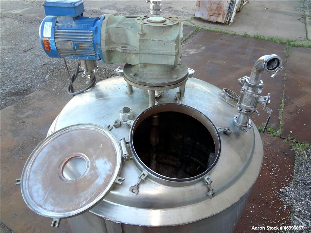 "Used- Processor Kettle, Approximate 350 Gallon, 316 Stainless Steel, Vertical. 48"" Diameter x 36"" straight side. Dished top ..."