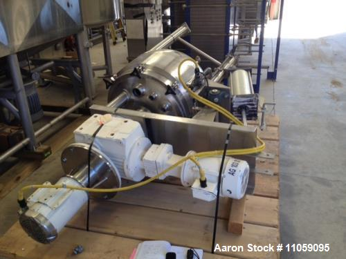 Used- 45 Gallon LEE Model 45D5T, Jacketed, Double Motion Vacuum Sanitary Mix Kettle/Vessel. 316L stainless steel. Scraper bl...