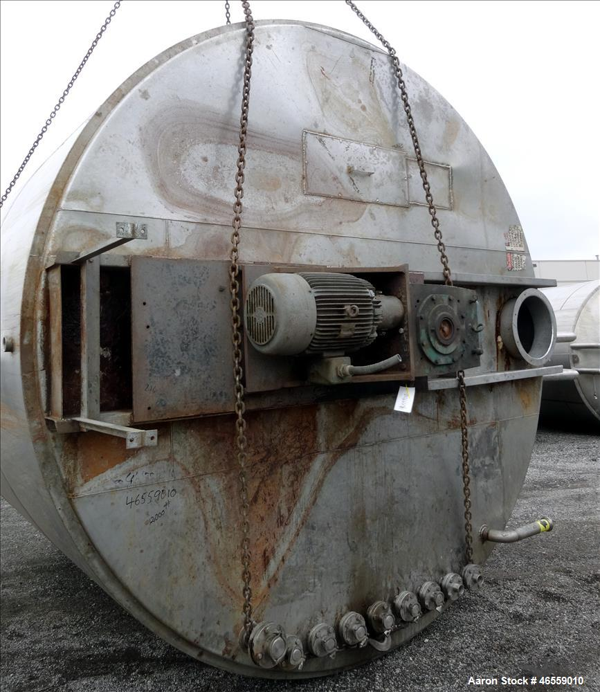 "Used- Agitated Tank, 10,000 Gallon, 316 Stainless Steel, Vertical. Approximately 144"" diameter x 144"" straight side. Closed ..."