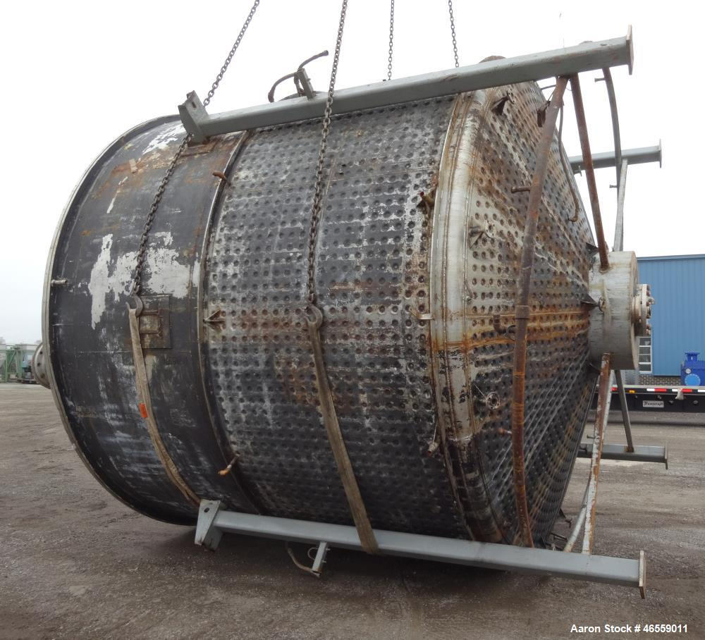 """Used- Mixing Tank, Approximate 10,000 Gallon, 304 Stainless Steel, Approximate 154"""" Diameter x 123"""" straight side, Vertical,..."""