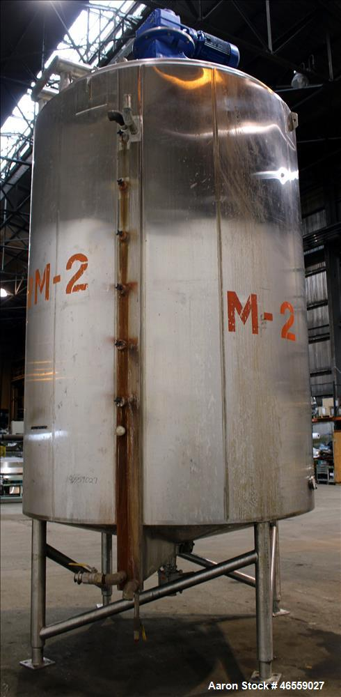 "Used- Double Motion Mixing Kettle, 4,000 Gallon, 316 Stainless Steel, Vertical, Jacketed. Approximate 98"" diameter x 134"" st..."