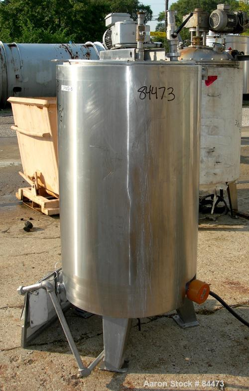 "Used- Kettle, 80 Gallon, 304 Stainless Steel, Vertical. 24"" Diameter x 42"" straight side, open top with cover, dished bottom..."