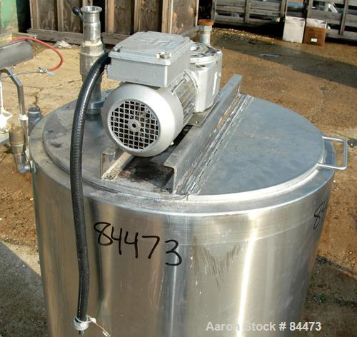 """Used- Kettle, 80 Gallon, 304 Stainless Steel, Vertical. 24"""" Diameter x 42"""" straight side, open top with cover, dished bottom..."""