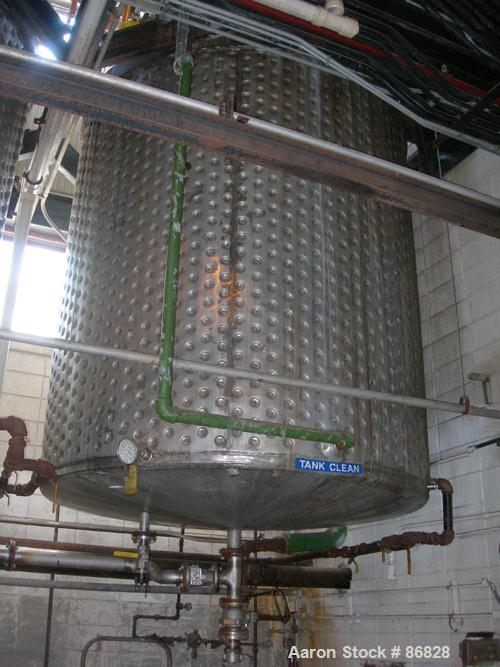 "USED: Kettle, 3000 gallon, stainless steel, vertical. Approximate 96"" diameter x 96"" straight side, flat top, slight cone bo..."