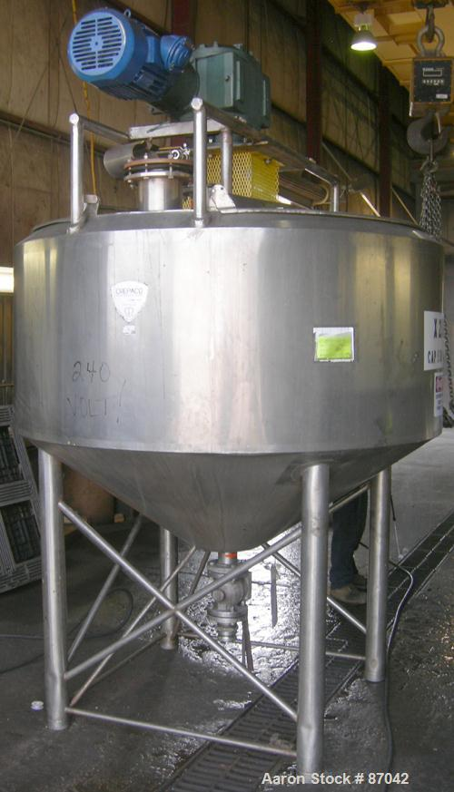 USED: Double motion kettle, cone bottom, 550 gallon, stainless steel.