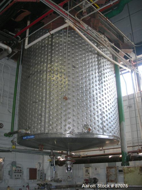"""USED: Kettle, 3000 gallon, stainless steel, vertical. Approximate 96"""" diameter x 96"""" straight side, flat top, slight cone bo..."""