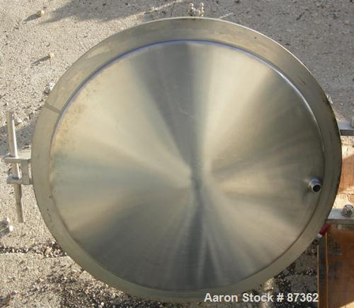 """USED: Kettle, 75 gallon, 316 stainless steel, vertical. 23"""" diameter x 41"""" straight side, flat open top with a counter-balan..."""