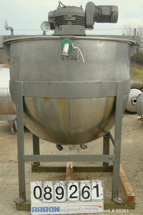 "USED: Kettle, approximately 400 gallon, 304 stainless steel, vertical. 60"" diameter x 47"" deep. Jacketed hemi bottom. (2) 1/..."