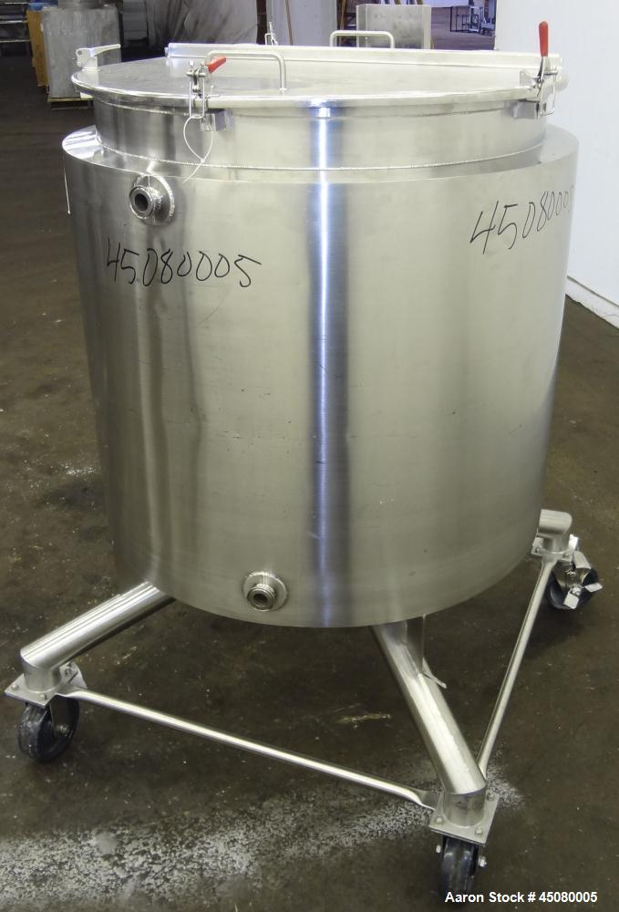 """Used- Allegheny Bradford Kettle, 100 Gallon, 316 Stainless Steel, Vertical. 32"""" Diameter x 34"""" straight side, flat top with ..."""