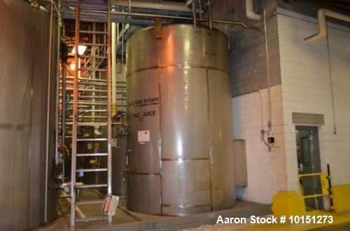 Used- APV Crepaco 7,000 Gallon (Approximately) Stainless Steel Vertical Ammonia Jacketed Tank.  Jacket rated at 142 psi at 1...