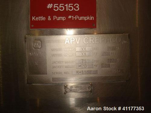 """Used- APV Crepaco Double Motion Kettle, 400 Gallon, Stainless Steel. 20"""" straight wall with 14"""" scraping surface. Dimple jac..."""
