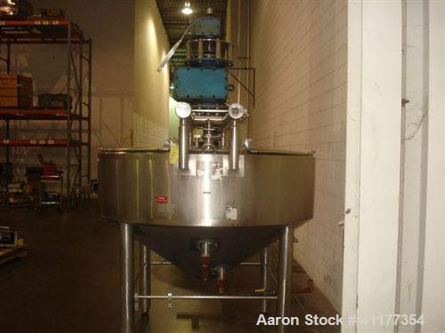 Used- APV Crepaco Double Motion Kettle, 400 Gallon, Stainless Steel. 20'' straight wall with 14'' scraping surface. Dimple j...