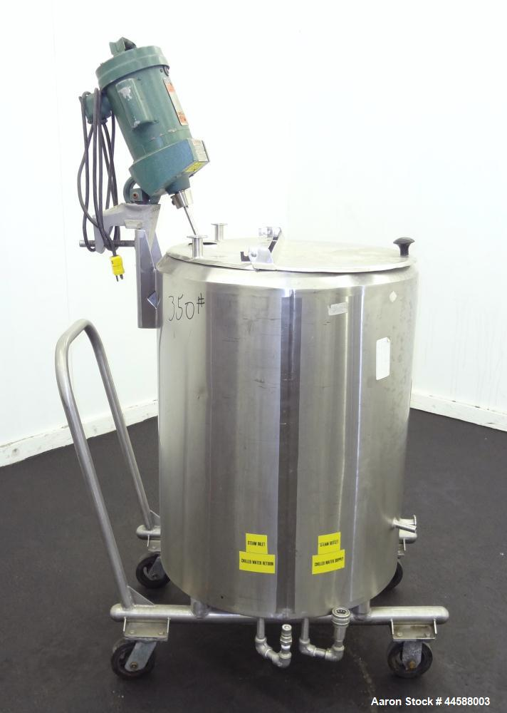 """Used- Cherry Burrell Kettle, 50 Gallon, Model 50PVE, 316 Stainless Steel, Vertical. Approximately 24"""" diameter x 28"""" straigh..."""