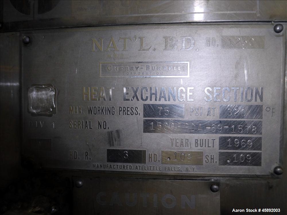 "Used- Cherry Burrell Processor Kettle, 1,500 Gallon, Model EPDA, 316 Stainless Steel, Vertical. 84"" Diameter x 68"" straight ..."