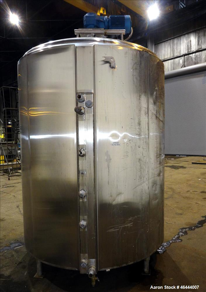 """Used- Cherry-Burrell Processor Kettle, 1500 Gallon, 304 Stainless Steel, Vertical. 74"""" Diameter x 81"""" straight side dished t..."""