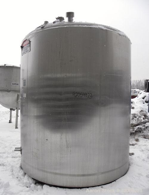 "Used- Cherry Burrell Kettle, 2000 Gallon, 316 stainless steel, vertical. 84"" diameter x 83"" straight side, dish top, sloped ..."